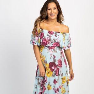 Light Blue Rose Off Shoulder Maternity Maxi Dress